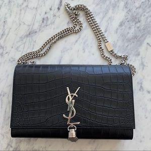 YSL Monogram Tassle Chain Mock Croc Bag